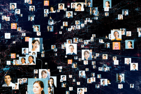 photos of employees in a global network